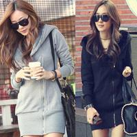 New 2014 Berber fleece thickening outerwear women's winter with a hood casual long design sweatshirt Women fabric