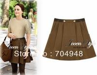 Free Shipping Womens New Wool High Waist Pleated Skirt Black/Gray/Brown 4 SZS