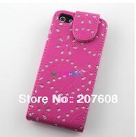 Bling Bling Maple Leaves Pattern Flip Leather Case for iPhone 5 5G