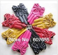 Lady gaga simulation leather star of rivet big bowknot ladies fashion gloves free shipping