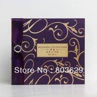 Very High Quality & Precious Wedding Invitation Cards in Purple with Rhinestone 50pcs Printable & Customizable Free Shipping