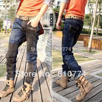 2014 Color block decoration patchwork trousers fashion slim jeans
