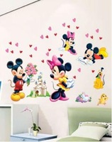 Free Shipping H5621 size 50*70cm cartoon Wall stickers,mickey mouse kids room stickers, 1pcs=$5.99 house stickers drop shipping