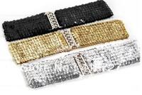 2012 summer new fashion dress belts Gorgeous paillette sequin elastic waist wide women belt gold,silver,black free shipping