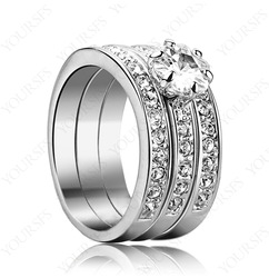 Fashion Style Christmas Gift 18K White Gold GP Use Sw Crystal Three-In-One Wedding Ring R139W1(China (Mainland))