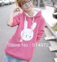 Best Selling !!Women's Long Style Hoodies winter warm jacket cartoon Hoody Lovely rabbit design Coat+Free Shipping
