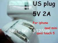100pcs DHL Pormotion!! 5V 2A US PLUG USB power adapter charger US travel charger for ipod iphone Hot sales