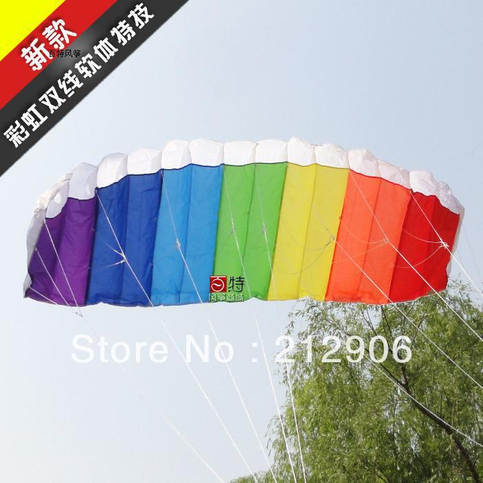 Free shipping 1.4m rainbow dual line soft stunt kite with hande and line wei kite so beautiful hot sell(China (Mainland))