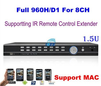 HD Full D1 Full 960H 8CH H.264 Real Time Standalone CCTV Security Network DVR With HDMI, Support Wireless IR Extender, MAC, 1.5U