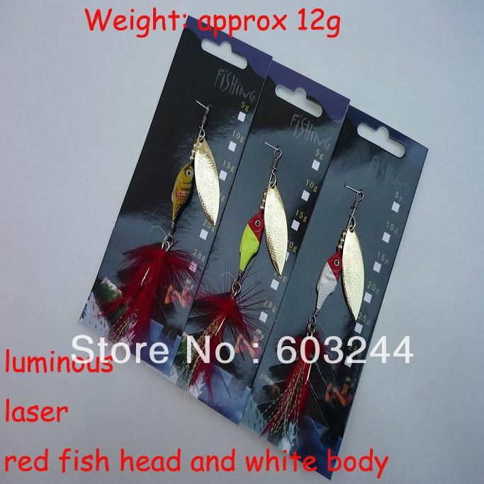 Free Hong Kong Post 20pcs 12g Professional Luminous Laser SPINNER Baits Lures Fishing Lures Tackle Hook Retail Package(China (Mainland))