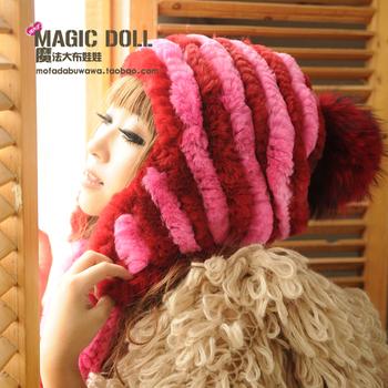 Magic large dolls rose red color block fur ball stripe rex rabbit skin knitted bianzi ear protector cap