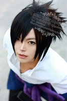 Uchiha Sasuke Short Black Anime Layered Shaggy Cosplay Cos Wig.Free shipping
