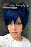 Aomine Daiki Blue Black Fusion Short Shaggy Layered Anime Cosplay Costume Wig Free Shipping
