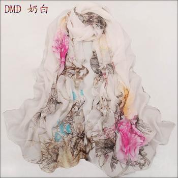 Min. order US$10 Free Shipping chiffon silk scarf silk long women's thin scarf pashmina shawl wrap Good Quality