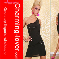 Sequin black sexy party dress One shoulder fashion clubwear wholesale cheap 2012 new arrive fashion mini dress lady wholesale