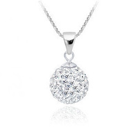 Minimum $18 mixed free shipping 925 pure silver necklace shambhala style inserted Imitation diamond crystal pendant necklace