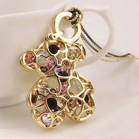 100% Gurantee Korean crystal teddy bear with colorful imitation diamond pendant long sweater necklace