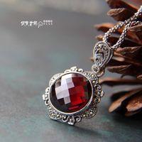 Free shipping 925 pure silverpomegranate red zircon  pendant female