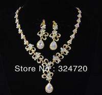Beautiful bridal accessories rhinestone necklace earing jewery sets  hj997 free shipping