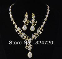 Beautiful bridal accessories rhinestone necklace earing jewery sets  hj997 free shipping