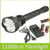 11000 Lumens Super Bright 9X CREE XM-L T6 LED Flashlight Torch With 3X 26650 Rechargeable Batteries And Charger ! Free Shipping