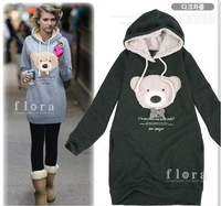 2012 NEW Hoodie Long top pullover, Women's Winter coat, Cute teddy bear Hoodie Free shipping