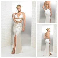 Backless Silk Like Satin Keyhole Neckline Split Front Petite Deep V Neck Sleeveless Formal Long Prom Dress