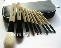 Wholesale New arrival HOT cosmetic Makeup Brush 9 Pieces+with leather Pouch Free shipping(China (Mainland))
