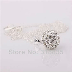 Free Shipping Fashion jewelry Crystal Disco Balls Shamballa Necklace pendants Chains 925 silver Necklace asoa jjva sbea SH-P012(China (Mainland))