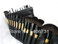 Wholesale Professional 24 PCS Cheap Makeup Brush  Cosmetic set Kit  / makeup brushes with leather case, Free Shipping