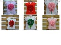 high quality b2w2 spunkykids girls short sleeve white pink  red big flower bouquet  t-shirts hot sale 6 designs 5pcs lot