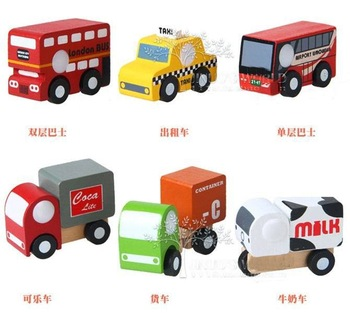 Mini Funny Colorful Wooden Shop Truck Model Toys With Small Wheels Bus Best Gifts For Kids