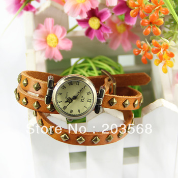 Hot Fashion Women Watch Rivet Weave Wrap Around Leather Retro Bracelet Wrist Watch, Free Shipping!