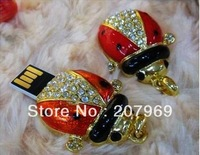 4gb/8gb/16gb/32gb Diamond ladybug Jewellery crystal usb flash drive with necklaces keychain high capacity usb driver