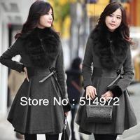 Best Selling!! Winter Women Fashion Fur Collar Pleated Slim Wool Coat Long winter coat +free shipping
