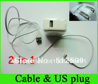 2 in 1 US Plug Wall Charger (5v 2a) + USB Cable (8pin) Travel Kit For iphone 5 5th for new ipad mini DHL Hot sales