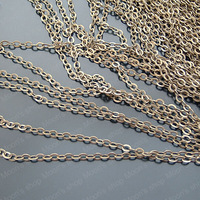 (20004)Metal Jewelry Link Necklace Chains Copper Antique Bronze Chain width:2MM 2MM flat O chain 5 Meter