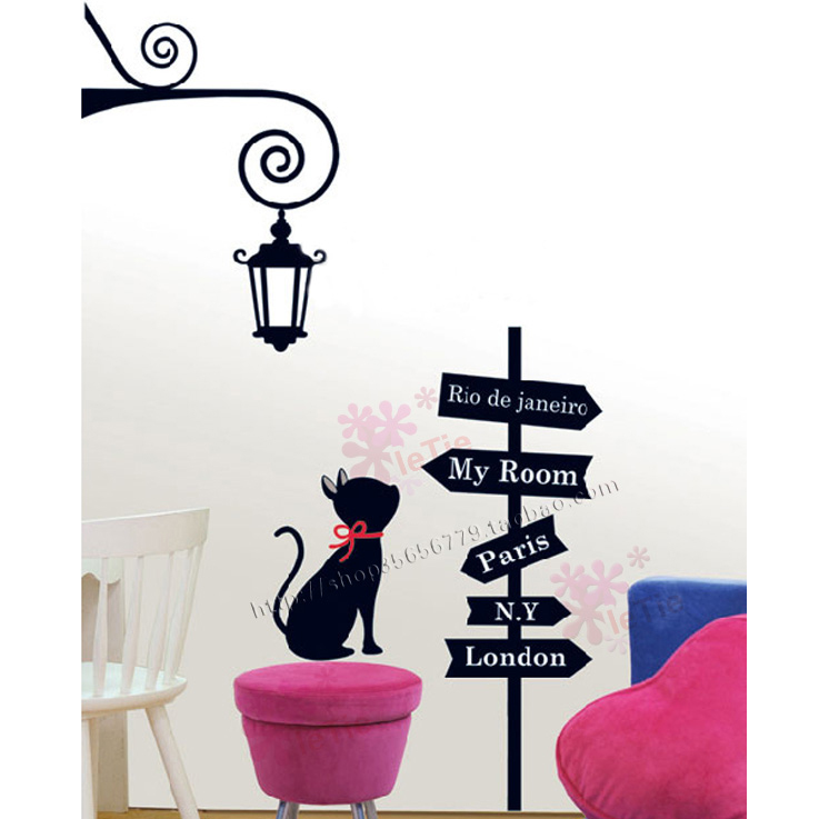 Second generation wall stickers cat Large cartoon child housing decoration furniture free shipping(China (Mainland))