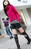 Women's Single-breasted Jacket Outwear Women Long Sleeve Winter Wool Coat+Free Shipping