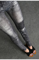 New Fashion Women's Clothing Jeggings Stretch Skinny Leggings Pencil Pants Casual Jeans Gray Size S Free Shipping 0167