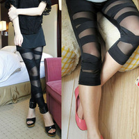 Women Fashion Women's Clothing Gauze Ripped TornPunk Slash Sexy Stretch Pants Leggings Black Size S Free Shipping 0011