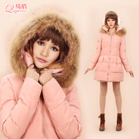 White duck down coat thickening medium-long female slim skirt autumn and winter outerwear raccoon fur large fur collar