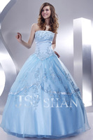 11G056 Strapless Beaded Sequined Appliqued Blue Organza Elegant Gorgeous Luxury Unique Quinceanera Dress Ball Gown Dresses
