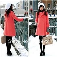 Best Selling!!women's casual outwear winter warm long coat jacket fashion wool overcoat trench+free shipping