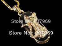 Free Shipping 4gb/8gb/16gb/32gb  Jewelry Necklace Animal Cat Shape USB Flash Drive,Pen Drive,Memory Stick