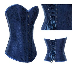 Brand New Boned Corset Hot Sale Sexy Lingerie Top Blue Floral Pattern Lace up back Bustier With Matching Thong(China (Mainland))
