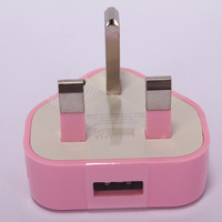 Pink UK Plug Travel United Kingdom USB AC Power Adapter wall Charger Socket Plug For iPhone 3G 3GS 4 4S 5 5S for IPAD 2 3 4 5
