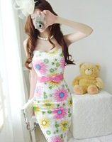 2012 New Woman Daisy Printing Skirt Tight Satin Skirt With Shoulder-straps Sexy Lady Dress FH-021 Free Shipping