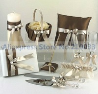Shimmering Gold Satin Collection (Set of 8) Ring Pillow Flower Basket Wine glass Guestbook Penset Cake Serving Set Candle