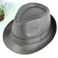 Leather fedoras male hat jazz hat vintage british style hat leather hat